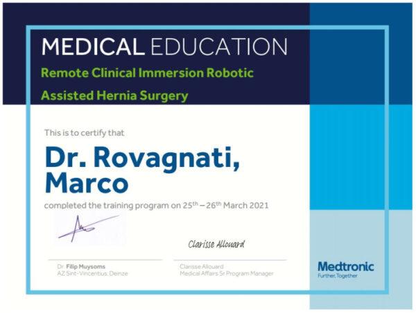 attestato partecipazione corso laparoscopia robotica